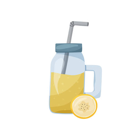 Banana smoothie in glass bottle. Mason jar with tube and cap on white background. Flat food vector illustration. Cartoon hand drawn detox fruit cocktail. Healthy trend isolated drink