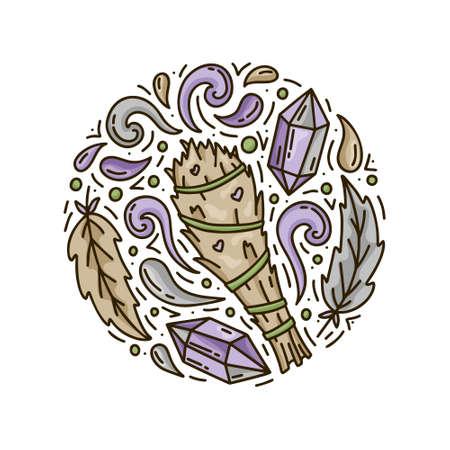 Sfumino di salvia. Cartone animato mazzo di piante con getti di fumo, piume di uccello e cristalli di ametista. Modello di doodle rotondo per la magia. Concetto di vettore disegnato a mano. Poster di illustrazioni a colori