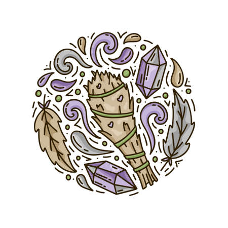 Szałwia w sztyfcie. Kreskówka bukiet roślin ze strumieniami dymu, ptasimi piórami i kryształami ametystu. Okrągły szablon bazgroły dla magii. Ręcznie rysowane koncepcja wektor. Plakat z kolorową ilustracją