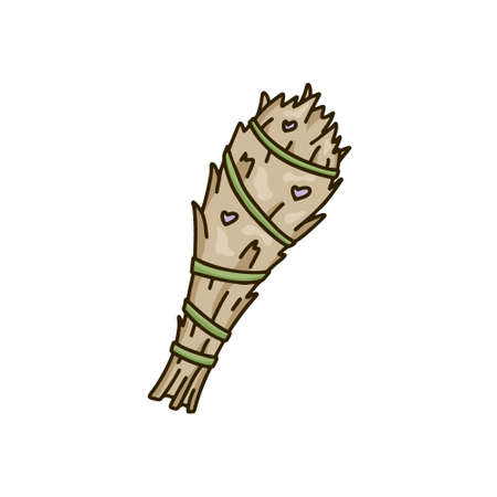 Bâton de maculage de sauge, icône de doodle isolé sur fond blanc. Bouquet de lavande de dessin animé. Élément de vecteur dessiné à la main. Illustration couleur pour la magie, cérémonie des arômes