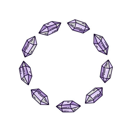 Round crystal frame on white background. Isolated doodle illustration for t-shirt or notebook cover. Violet cartoon amethyst stones for magic and witchcraft. Line art design
