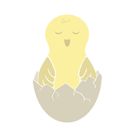 Hatched yellow chick in eggshell. Childrens illustration for  t-shirt, poster, card. Cartoon flat icon. Freehand drawn isolated vector image on white background. Symbol of spring, easter and newborn