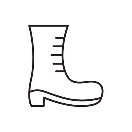 Boot with lacing icon. Thin line art template for high shoe . Black and white illustration. Contour hand drawn isolated vector image on white background
