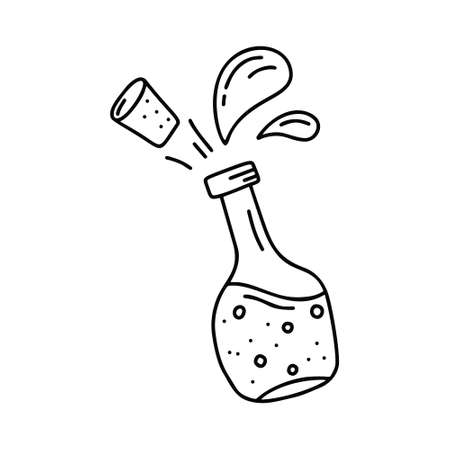 Open bottle with flying cork and splash on white background. Hand drawn vector concept. Contour illustration in doodle style. Cartoon outline beverage, liquid, oil or sauce. Isolated icon