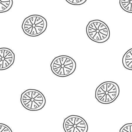 Contour seamless vector pattern. Hand drawn lemon on white background. Outline image of citrus. Graphic doodle design 矢量图像