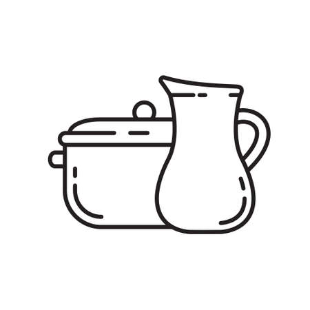 Jug and pan icon. Thin line art template for cookware. Black and white simple illustration. Contour hand drawn isolated vector image on white background