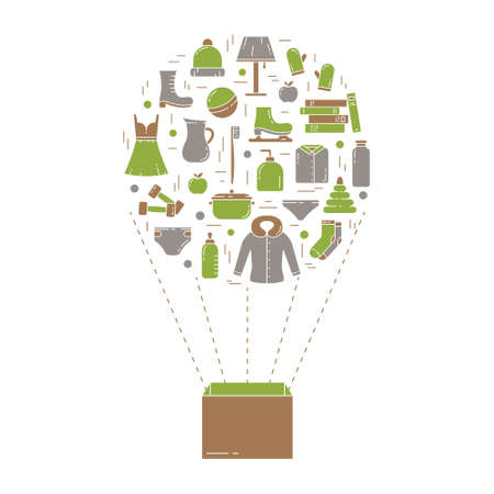 Color poster for moving, humanitarian, packaging, delivery, shopping. Set of outline isolated vector icons with box in air balloon form. Home stuffs, food, clothes, shoes, toys. Flat illustration