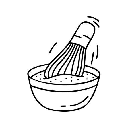 Doodle bowl with whisk isolated on white background. Contour illustration of matcha tea, whipping sauce or making dough. Hand drawn vector food icon. Black outline image for cooking Reklamní fotografie - 137941271