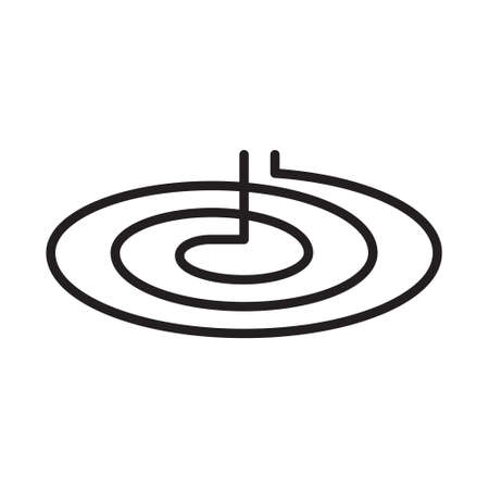 Round induction spiral icon. Thin line art of type of kitchen hob and burner. Black simple illustration. Contour isolated vector image on white background