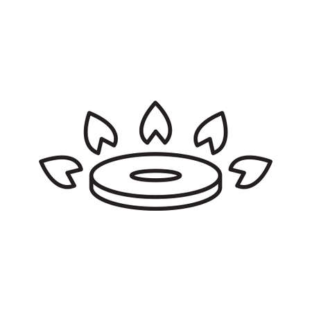 Gas burner icon. Thin line art of kitchen gas stove. Black simple illustration. Contour isolated vector image on white background. Symbol of circle with sparks to indicate cooking method