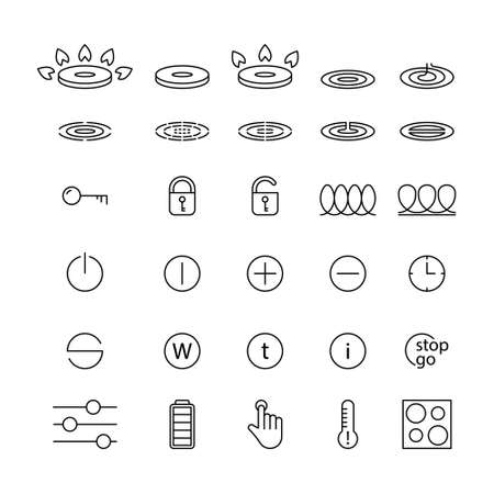 Set of icons for cooktops of stoves. Temperature indicator, touch control, lock. Linear illustration for gas, electric induction, glass ceramic, halogen hobs. Contour isolated vector. Editable stroke Vecteurs