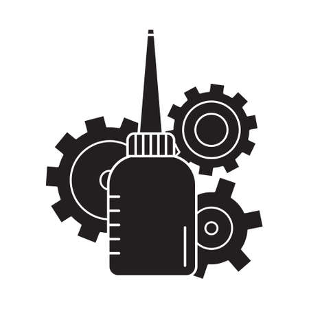 Cutout silhouette Oiler with three cogwheels in background. Outline icon of motor lubricating oil. Black and white simple illustration. Flat isolated vector image. Bottle with long nose and gears