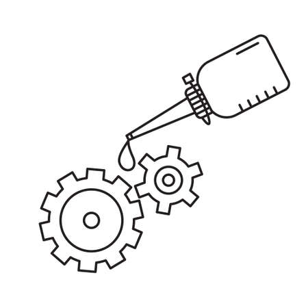 Oiler with dripping drop of oil lubricating two spinning gears. Linear icon of motor oil. Black simple illustration. Contour isolated vector image on white background. Bottle grease mechanism