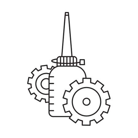 Standing oil can with two gearwheels  in foreground and background. Linear icon of motor grease. Black and white simple illustration. Contour isolated vector image. Bottle with gears