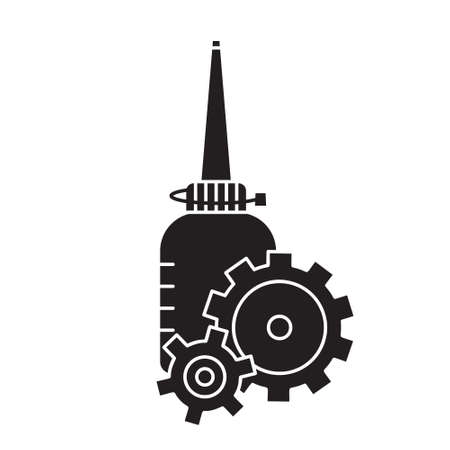 Cutout silhouette Oiler with two gearwheels overlapping each other in foreground. Outline motor lubricating oil. Black simple illustration. Flat isolated vector image on white background Ilustração