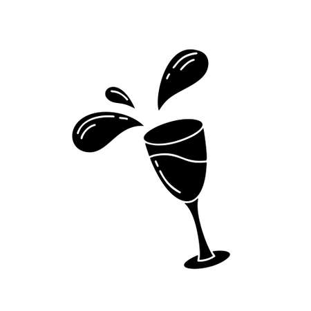 Falling glass with drink and flying splashes. Cutout flat image, silhouette vector clip art. Black illustration of wine, alcoholic drinks or cocktails. Set of isolated icons on white background