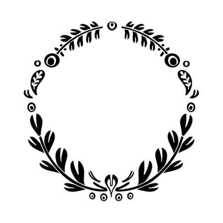 Sagoma ritaglio Telaio folk con copia spase. Modello di doodle rotondo per carta o copertina del libro. Illustrazione floreale ornamento simmetrico. Motivi nordici in bianco e nero. Immagine vettoriale isolato disegnato a mano libera