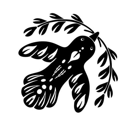 Silhouette bird icon. Cutout folk image. Black and white floral illustration. Ethnic motives. Freehand drawn isolated vector image