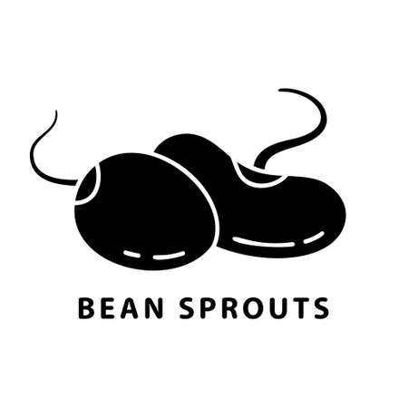 Cutout silhouette Sprouted beans and soy icon. Outline logo for seeding. Black illustration for raw food diet, fresh salad ingredients, type of soybeans. Flat isolated vector image on white background Stock Illustratie