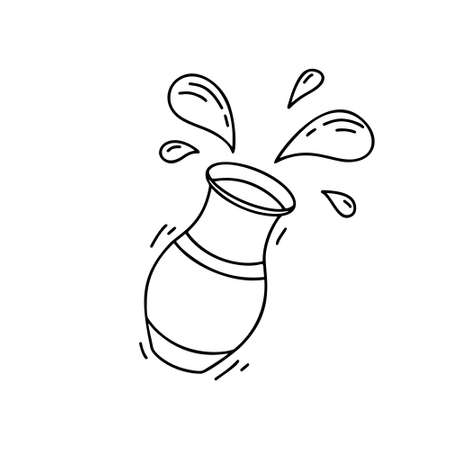 Contour falling pot with isolated drops. Hand drawn vector concept. Black and white illustration of spilled milk, yogurt or water. Cartoon outline icon for poster, banner. Doodle elements