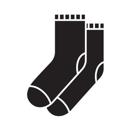 Ausschnitt-Silhouette-Socken-Symbol. Umrissvorlage für Kleidungslogo. Schwarz-Weiß-Abbildung. Flaches handgezeichnetes isoliertes Vektorbild auf weißem Hintergrund
