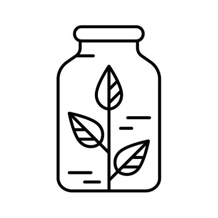 Homeopath logo. Linear bottle with plant inside icon. Black simple illustration. Contour isolated vector image on white background. Sprout with leaves as symbol of herbal medicine