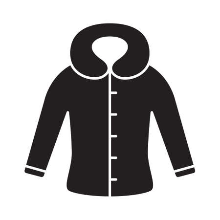 Cutout silhouette fitted coat or jacket with hood icon. Outline template for logo. Black and white simple illustration. Flat hand drawn isolated vector image on white background 向量圖像