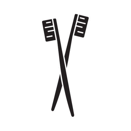 Cutout silhouette crossed manual toothbrushes icon. Outline template for brush your teeth. Black and white simple illustration. Flat hand drawn isolated vector image on white background