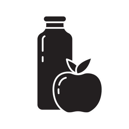 Cutout silhouette juice bottle with apple or peach icon. Outline template for fruit drink. Black and white simple illustration. Flat hand drawn isolated vector image on white background