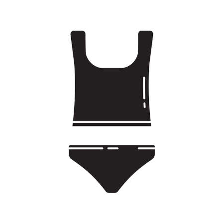 Cutout silhouette undershirt and underpants icon. Outline template for logo. Black simple illustration. Flat hand drawn isolated vector image on white background. Set of panties and t-shirt on straps 向量圖像