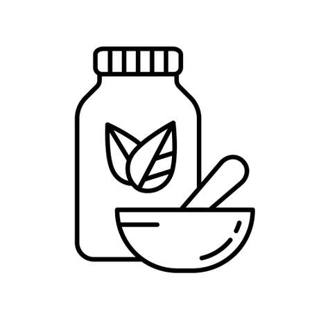 Bottle with two leaves and Pestle inside mortar. Linear herbal medicine icon. Black simple illustration. Contour isolated vector image on white background. Homeopathy logo