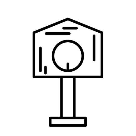Birdhouse on long stand icon. Linear logo for pet house. Black illustration. Contour isolated vector image on white background. Symbol for cat home or feeder for animals and birds