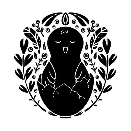 Cutout silhouette folk ornamet with chick. Round doodle template. Black and white floral illustration. Nordic motives. Freehand drawn isolated vector image