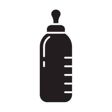 Cutout silhouette baby bottle with scale and nipple icon. Outline template for logo. Black and white simple illustration. Flat hand drawn isolated vector image on white background 向量圖像