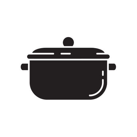 Cutout silhouette saucepan with cover icon. Outline template for cooking logo. Black and white simple illustration. Flat hand drawn isolated vector image on white background
