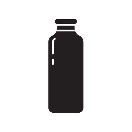 Cutout silhouette tall bottle of milk or juice icon. Outline template for logo. Black and white simple illustration. Flat hand drawn isolated vector image on white background