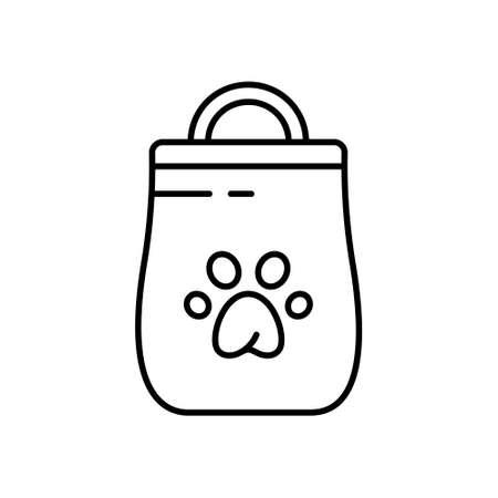Symbol für Katzenstreutoilette oder Hundefutterpaket. Lineare Tasche mit Griff und Pfotenaufdruck-Logo. Schwarze Illustration von Haustierprodukten. Kontur isoliertes Vektorbild auf weißem Hintergrund. Symbol für Shop Logo