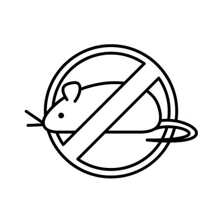 Round sign for extermination of rodents. Line art icon of crossed out big mouse in circle. Black illustration for chemical disinfection company. Contour isolated vector logo on white background