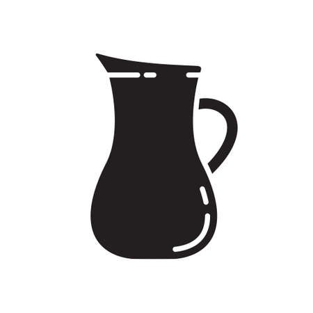 Cutout silhouette round jug with handle icon. Outline template for logo. Black and white simple illustration. Flat hand drawn isolated vector image on white background