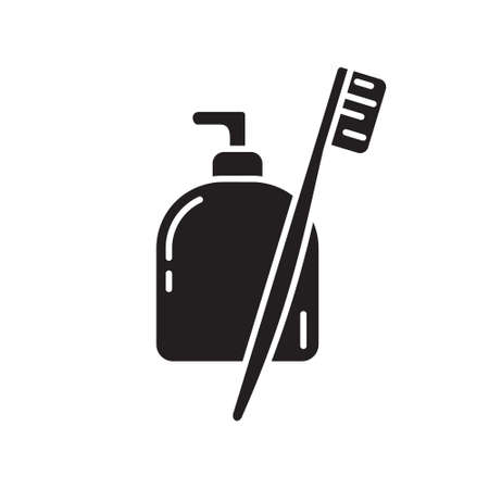 Cutout silhouette liquid toothpaste in bottle with toothbrush icon. Outline template for logo. Black and white simple illustration. Flat hand drawn isolated vector image on white background 向量圖像