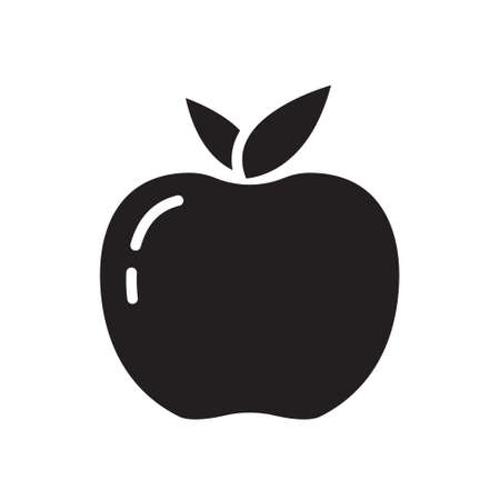 Cutout silhouette apple or peach with leaves icon. Outline template for logo of fruit farm. Black and white simple illustration. Flat hand drawn isolated vector image on white background. Vitamin food