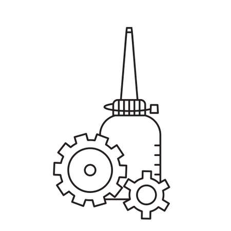Oiler with two cogwheels in foreground. Linear icon of motor lubricating oil. Black simple illustration. Contour isolated vector image on white background. Bottle with long nose and gears