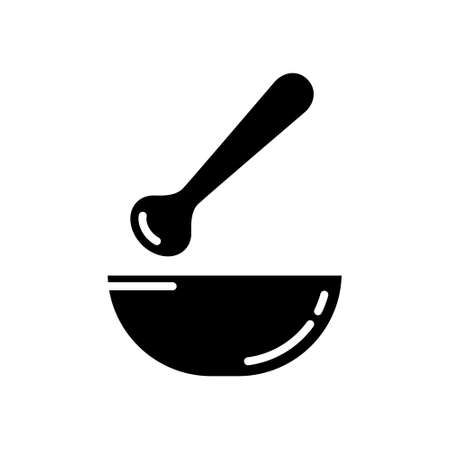 Cutout silhouette Mortar and pestle separately icon. Outline logo for chopping spices. Black illustration  for medicine, laboratory, chemistry, science. Flat isolated vector image on white background Ilustração