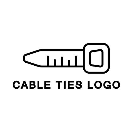 Cable tie logo. Line art icon for construction company, electrician, electrical goods store. Black illustration of repairs. Contour isolated vector on white background. Cartoon short strip of plastic Logo