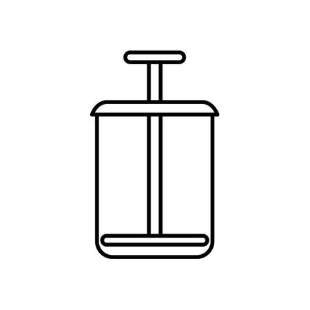 Glass with press. Line art icon of flat flask with piston. Black simple illustration of french press, squeezer, masher. Contour isolated vector image on white background. Symbol of filtration tool