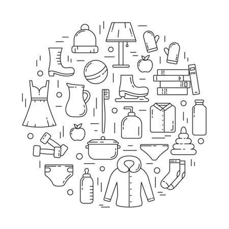 Product categories for personal consumption concept. Home stuffs, food, clothes shoes toys. Set of contour isolated vector icons. Line art poster for shop. Round black illustration on white background