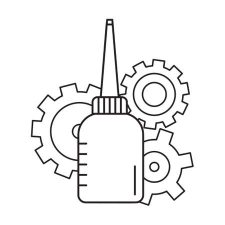 Oiler with three cogwheels in background. Linear icon of motor lubricating oil. Black and white simple illustration. Contour isolated vector image. Bottle with long nose and gears Ilustração