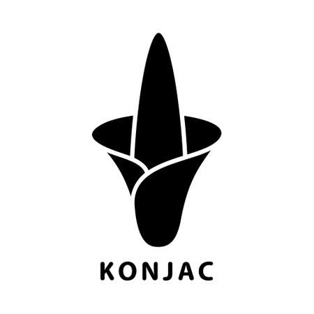 Cutout silhouette Konjac flower icon. Outline logo of Japanese devil's tongue, snake palm. Black simple illustration. Flat isolated vector image on white background. Symbol of asian plant Logo