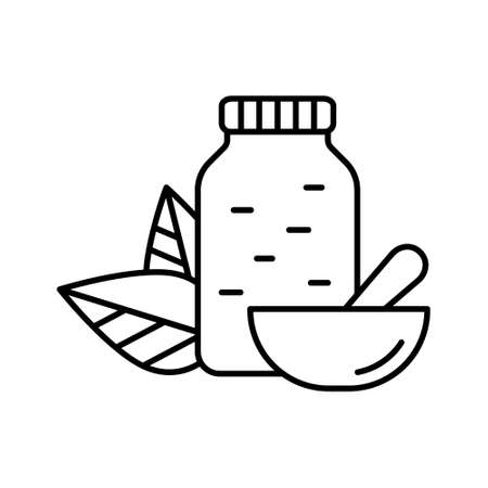 Jar with pills, two leaves on back and mortar with Pestle. Linear Homeopathy icon. Black illustration of crushed drug. Contour isolated vector image on white background. Naturopath logo