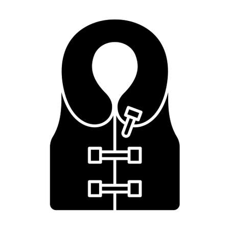 Cutout silhouette Inflatable life vest icon. Outline logo of jacket with clasps and rounded collar. Black simple illustration. Flat isolated vector image on white background Logo